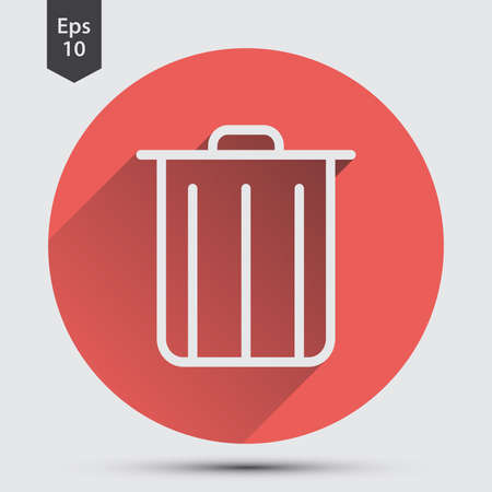 Simple Icon Of Trash Can In Circle. Flat Symbol For Webpage. Vector Illustration