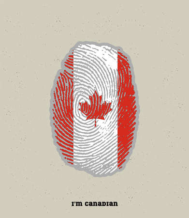 an illustration of a fingerprint in Canadian color, showing the pride of being Canada 向量圖像