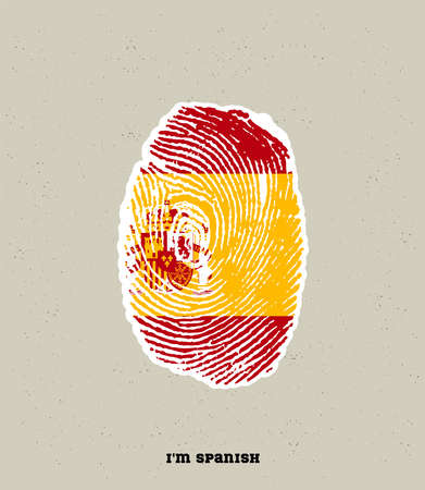 an illustration of a fingerprint in Spanish color, showing the pride of being Spain