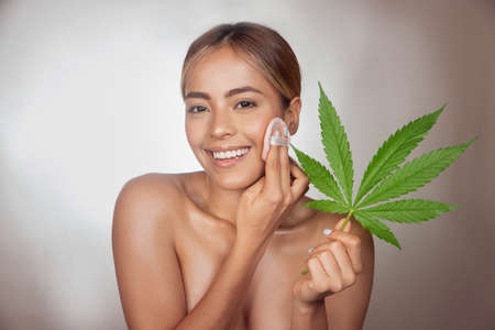 Brunette woman applying CBD skin powder made from cannabis extract for a natural make up. Portrait of young woman with cannabis leaf. Cosmetology and treatment concept. Isolated on gray background Stockfoto