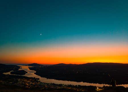 A beatiful golden sunset in a valley