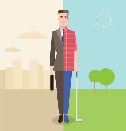 Retired man enjoying life playing golf