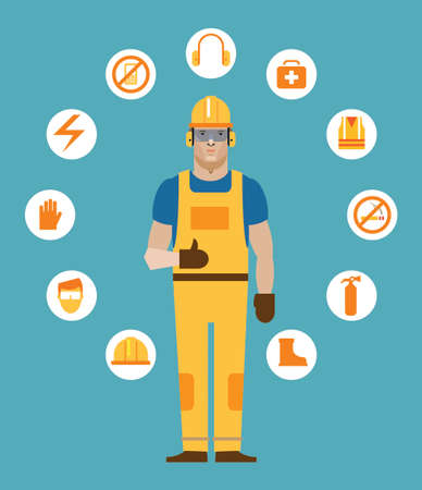 Construction worker surrounded by workplace safety icon
