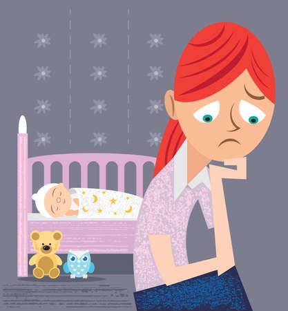Jeune mère avec bébé souffrant de dépression post-natale ou post-partum Vecteurs