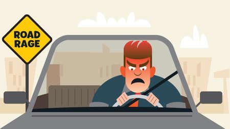 Wütender frustrierter Fahrer, der Straßenwut verspürt