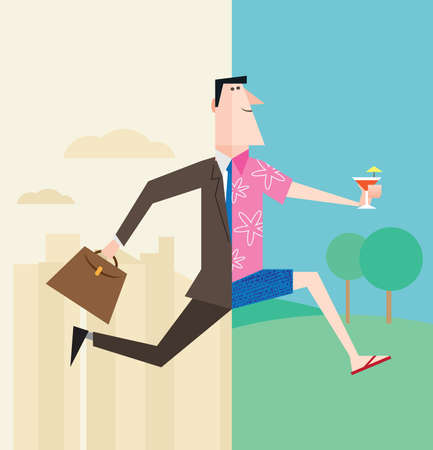 Office worker or businessman running into vacation or weekend or retirement