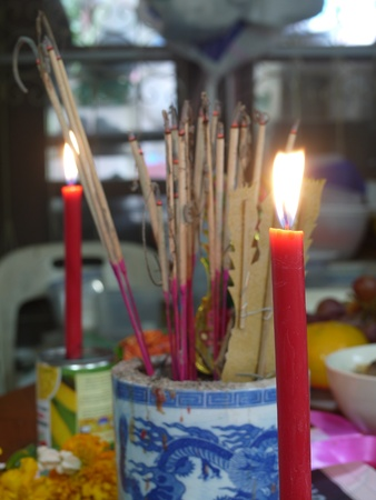 Candle light in chinese pay respect to god photo