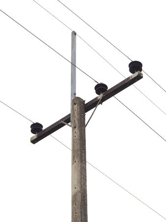 Electricity post in white background photo