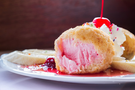 Fried ice-cream and whipped cream