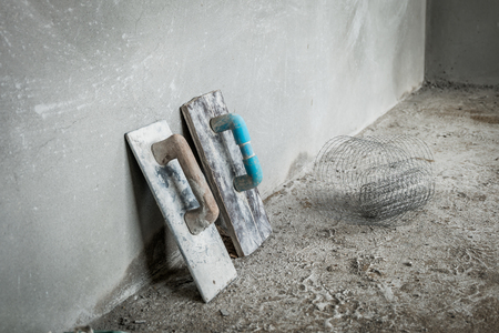 Trowel for concrete wall photo