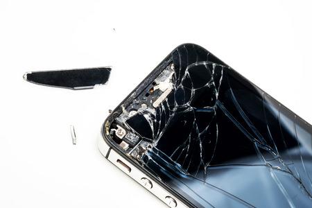 cracked: Broken phone screen