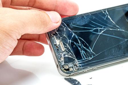 Broken telefoonscherm Stockfoto