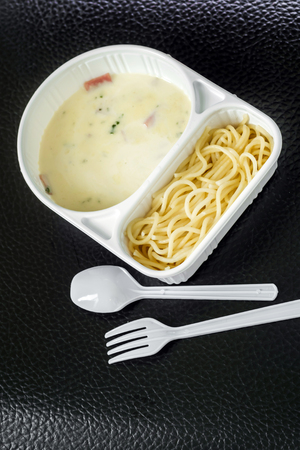 spaghetti carbonara with ham in the package photo