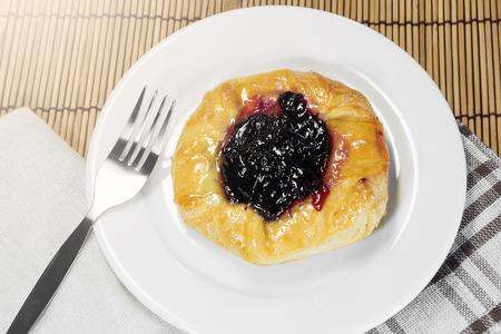 danish puff pastry: Blueberry danish Stock Photo