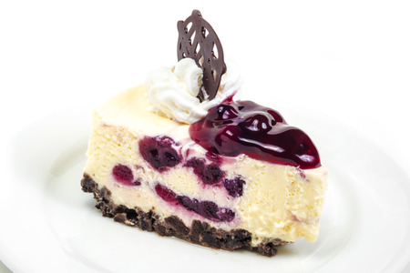Blueberry cheese mousse in white background photo