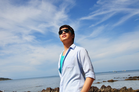 Asian men with the sky