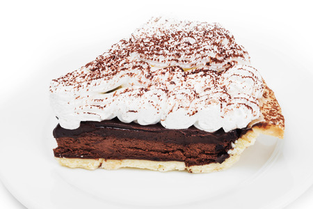 chocolate tart: Chocolate tart on the dish in white background