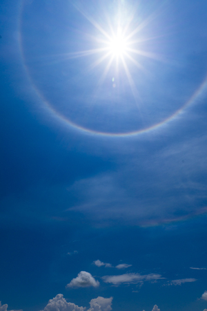 Sun halo with cloud in the sky photo