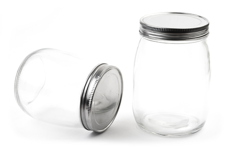 houseware: Empty glass canister in white background