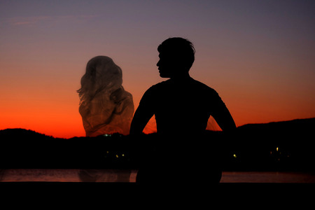 mate married: Silhouette man waiting for his soulmate
