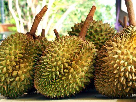 flesh colour: Durian on the table Stock Photo