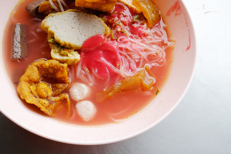 yong: Yong tau foo - Asian noodle in the red soup