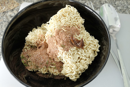 Raw instant noodle prepare for fill hot water