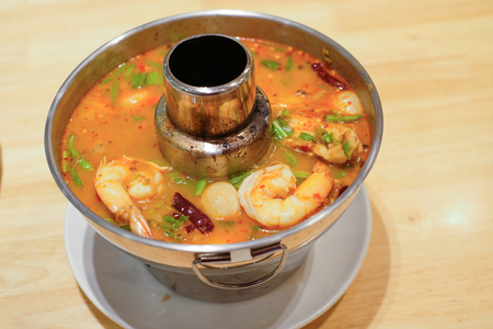 favorite soup: Tom-yum-kung - Thai food - herb and shrimp in Tom-Yum soup - soft focus Stock Photo