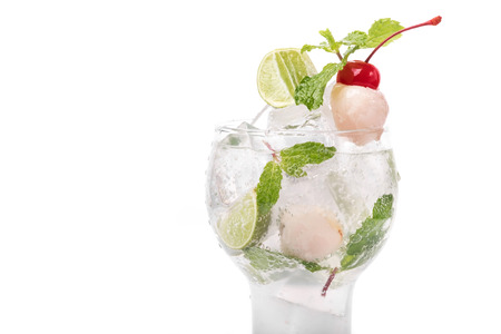 Lychee Cocktail With Mint Leaves, Lime And Cherry Decoration.. Stock Photo,  Picture And Royalty Free Image. Image 89001098.