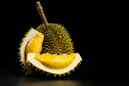 Durian - King of fruit in black background