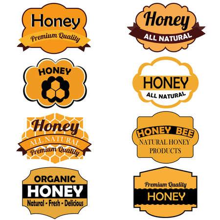 Diferentes etiquetas de la miel en el fondo blanco Foto de archivo - 21400639