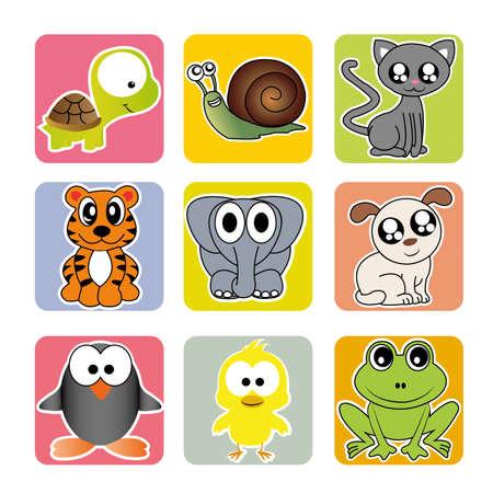 caracol: diferentes animales en plazas de diferentes colores