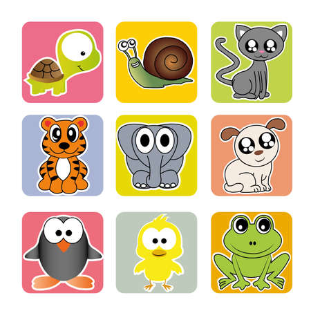 different animals on squares with different color Vector