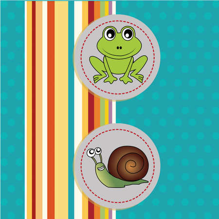 frog and snail icons on special background Vector
