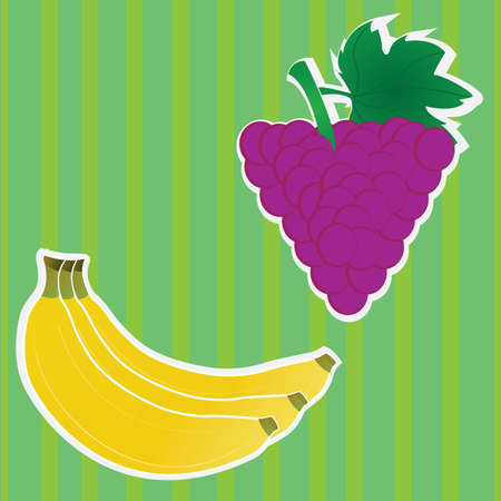 banana and blackberry fruits on special green background Vetores