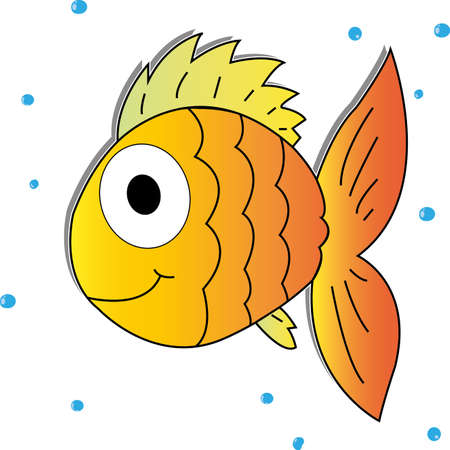 gold fish: cute gold fish on white background with bubbles