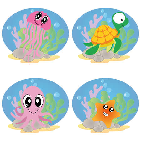 cute water animals on white background Vector