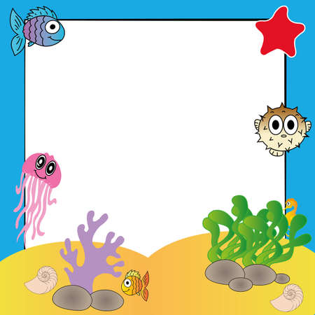 blowfish: cute water animals on special background