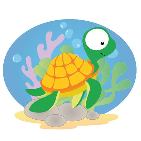 cute turtle on special background Illustration
