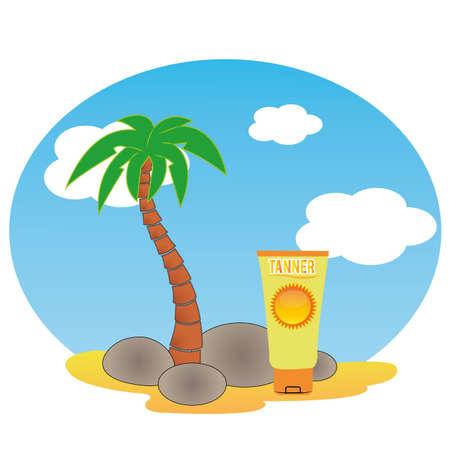 sun block: sun block on abstract beach background Illustration