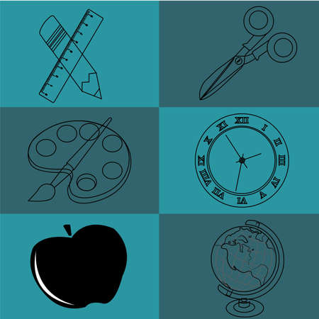 school icons on dark o light blue squares Vector