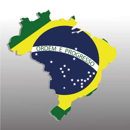 brazil map with flag on special gradient gray background