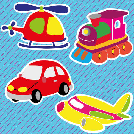 abstract toys icons on special blue background Vector