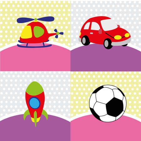 different toys on special background Vector