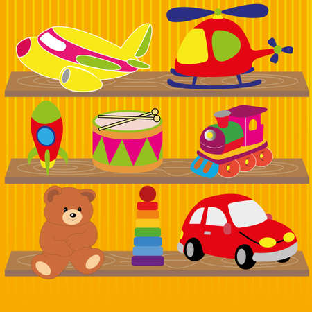 different toys on special yellow lines background Vector