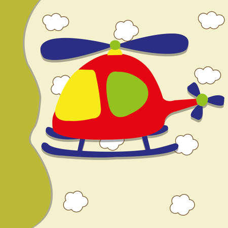 helicopter toy on abstract sky background Vector