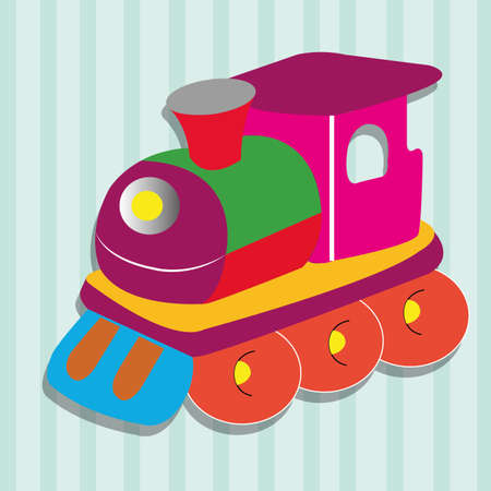 special train toy on special blue lines background Vector