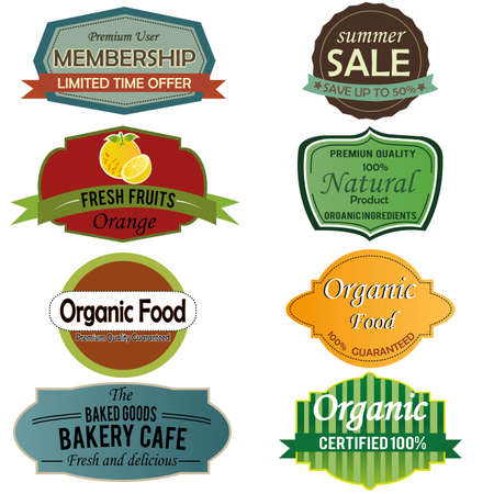 different labels on white background Illustration