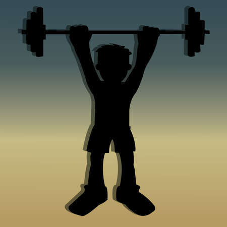 powerlifting silhouette on special background