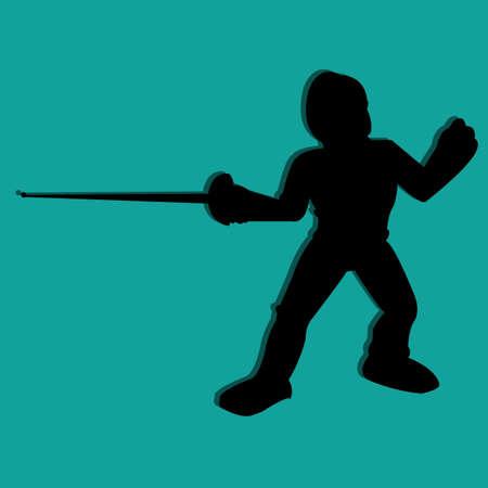 swordsmanship: swordsmanship symbol silhouette on blue background